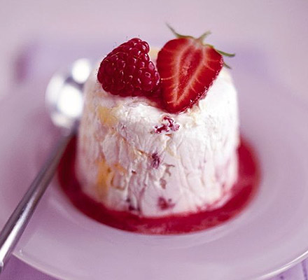 Eton mess parfait with berry sauce