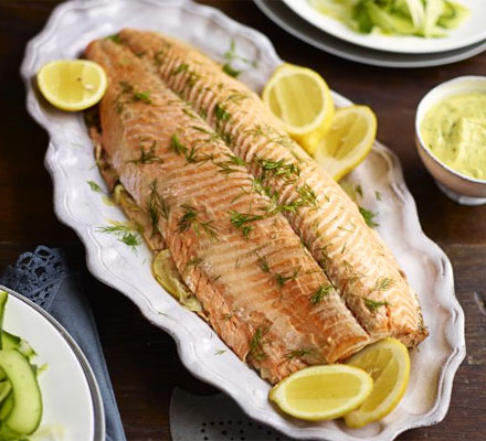 Parcel-poached salmon with herby mayonnaise