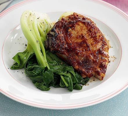 Barbecue pork with bok choi
