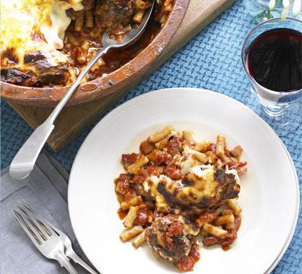 Italian sausage polpettina & macaroni bake