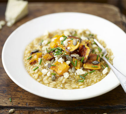 Roasted squash risotto with Wensleydale