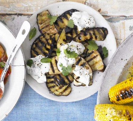 Griddled aubergines with sesame dressing
