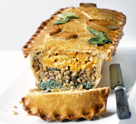 Layered squash, barley & spinach pie
