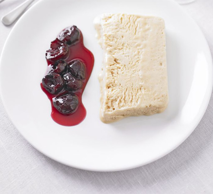 Peanut butter parfait with cherry compote