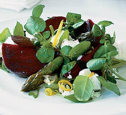 Beetroot, feta & asparagus salad