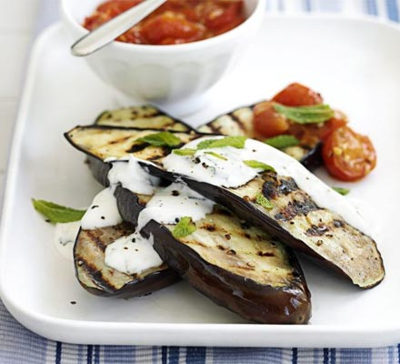 Aubergine with yogurt & tomato sauces