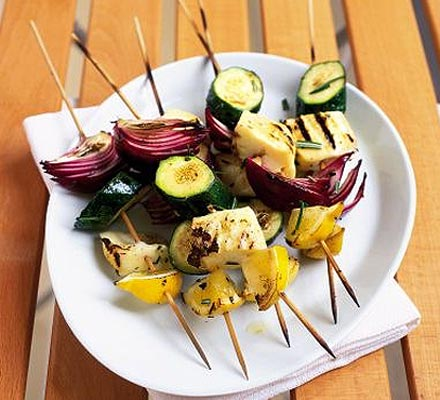 Lemon & rosemary halloumi skewers