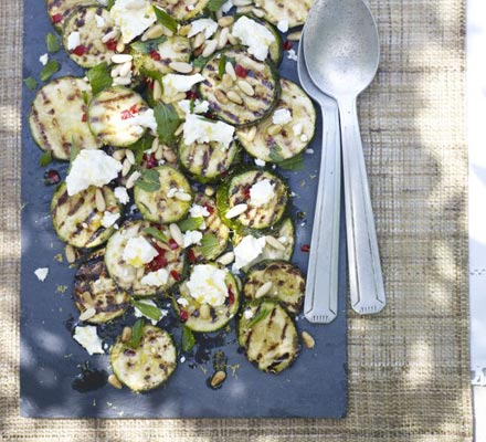 Griddled courgettes with pine nuts & feta