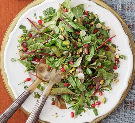 Herb salad with pomegranate & pistachios