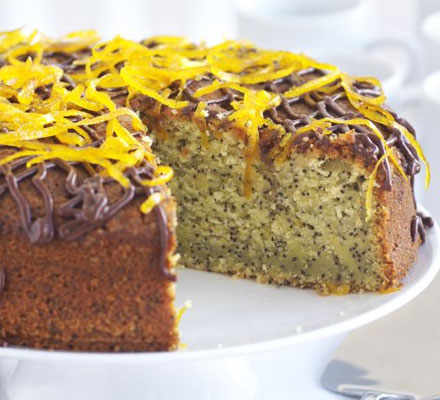 Orange & poppy seed cake with chocolate sauce