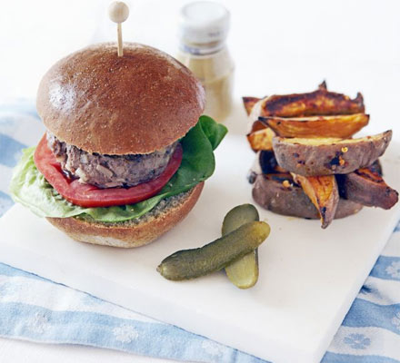 Beef burger with sweet potato chilli chips