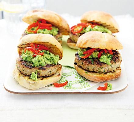 Turkey & coriander burgers with guacamole