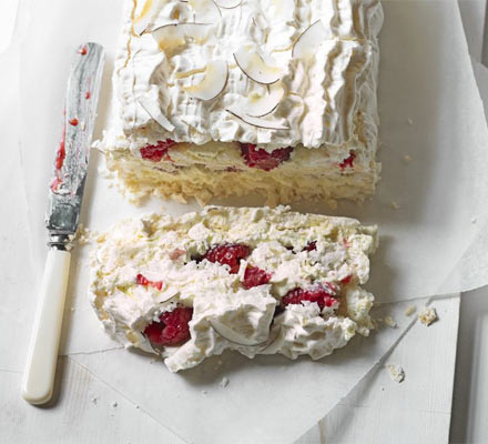 Coconut, raspberry & lime meringue slice