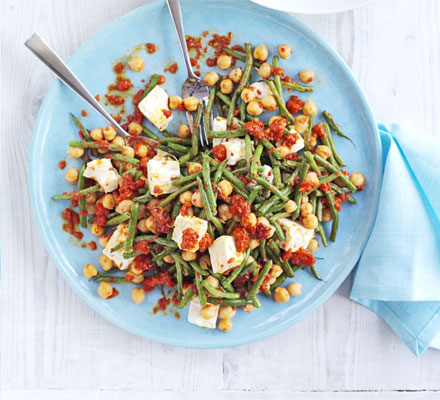 Bean, chickpea & feta salad