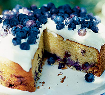 Blueberry soured cream cake with cheesecake frosting