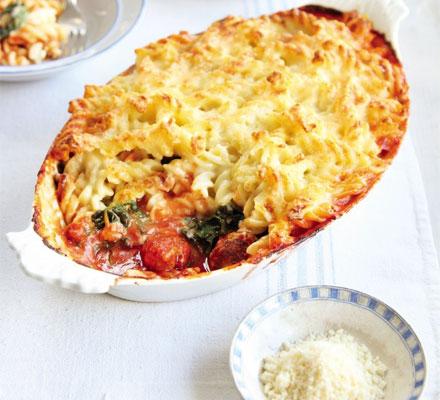 Sausage ragu & spinach pasta bake