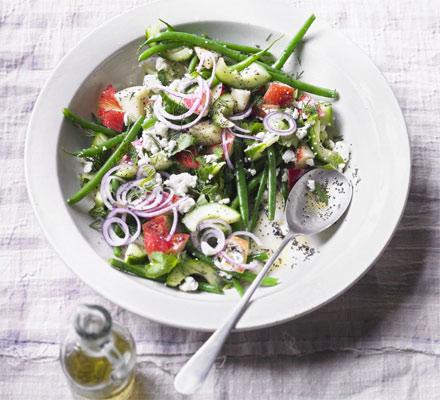Herby feta & nectarine salad with lemon poppy seed dressing