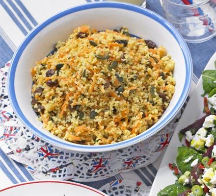 Bulghar wheat with carrots & hazelnuts