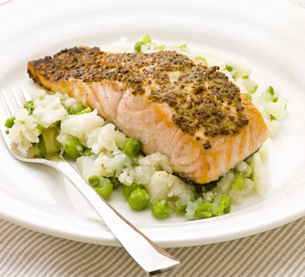 Mustard salmon with pea & celeriac mash