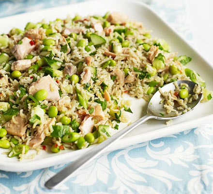 Zingy salmon & brown rice salad