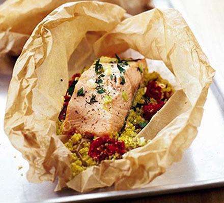 Herby salmon & couscous parcels