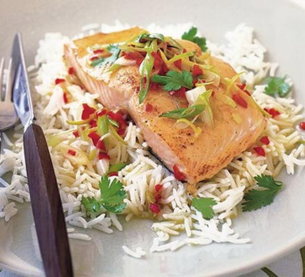 Grilled salmon with chilli & lime butter