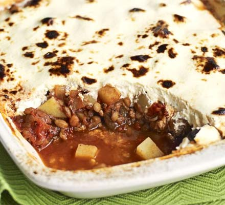 Lentil & lamb moussaka