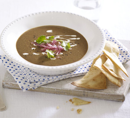 Chipotle black bean soup with lime-pickled onions