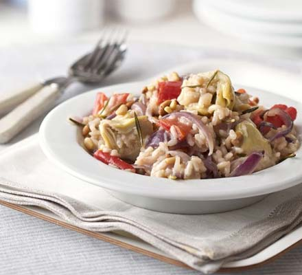 Artichoke, red onion & rosemary risotto
