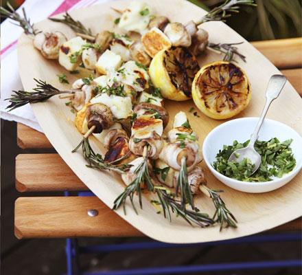Halloumi & mushroom skewers