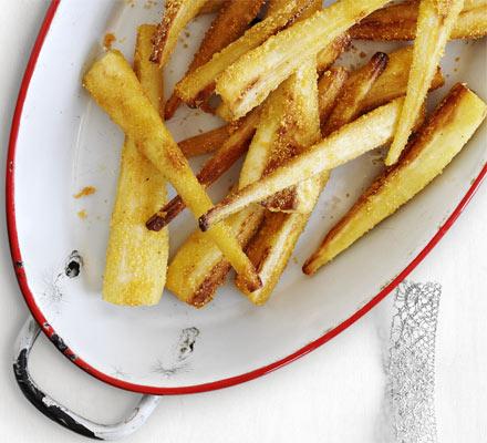 Roast Parmesan parsnips