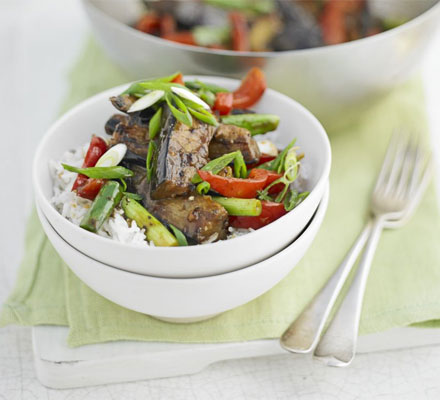 Aubergine & black bean stir-fry