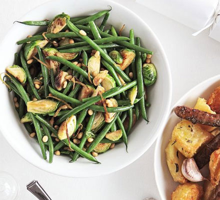 Stir-fried sprouts with green beans, lemon & pine nuts