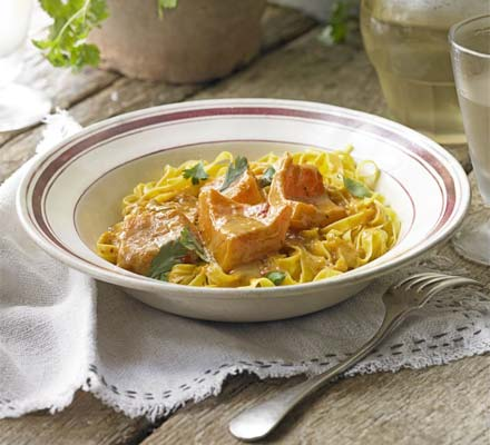 Spiced squash pasta with lime pickle