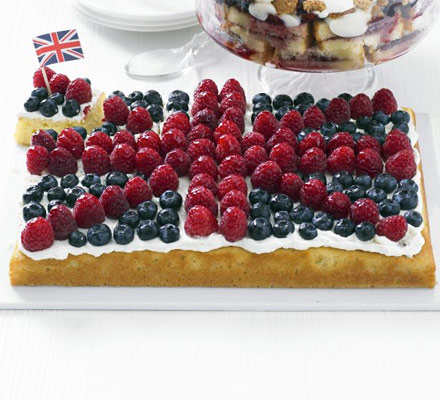 Fruity flag traybake
