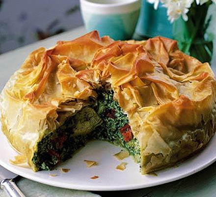 Spinach & artichoke filo pie