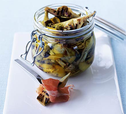Chargrilled artichokes with lemon