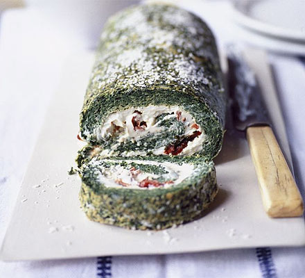 Spinach roulade with Boursin & sundried tomatoes