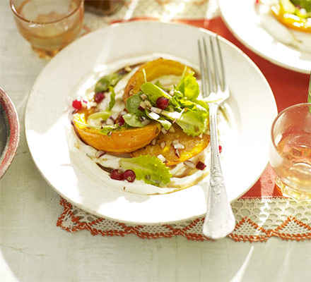 Roasted squash salad with creamy homemade labneh