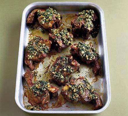 Lamb chops with coriander pesto