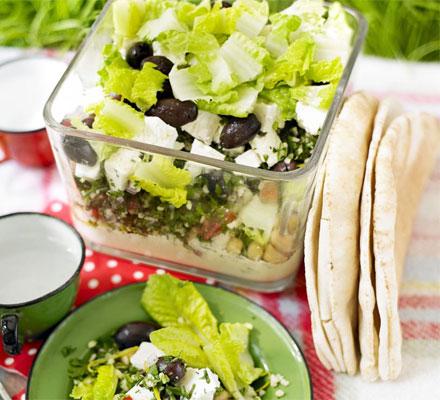 Layered houmous, tabbouleh & feta picnic bowl