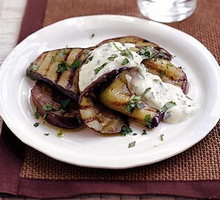 Grilled aubergine with creamy dressing