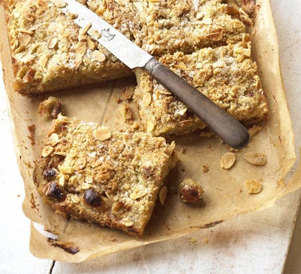 Gooseberry & almond streusel squares