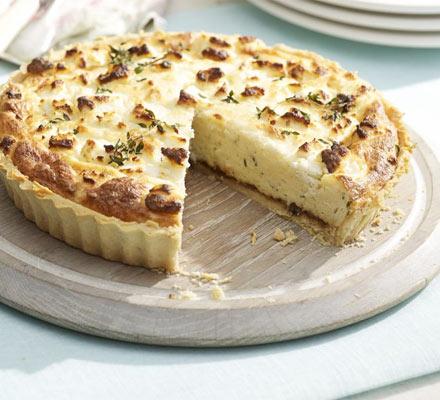 Double cheese & onion soufflé tart