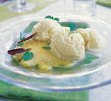 Pineapple & coconut ice with poached pineapple
