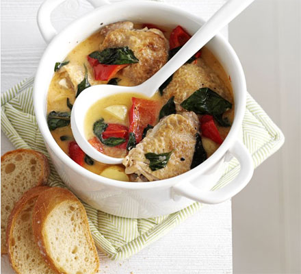 Summer chicken & basil stew