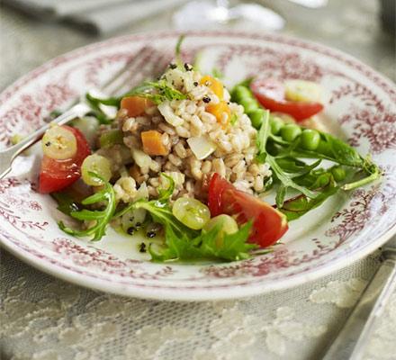 Pearled spelt salad with peas & gooseberries