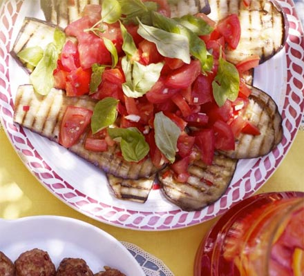 Grilled aubergine & tomato salad