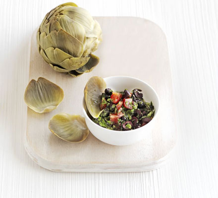 Artichokes & herby olive sauce