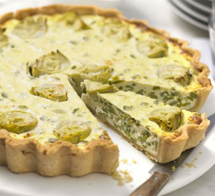 Artichoke & broad bean tart with watercress pesto
